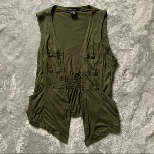 Olive Green Vest With Button Detail